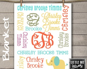 Personalized Baby Name Blanket Monogrammed Custom Blanket Baby Shower Gift Announcement