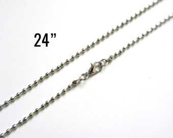 """Silver 2.4mm Ball Chain Necklaces - Antique - 24"""" - 4pcs - Ships IMMEDIATELY from California - CH622"""