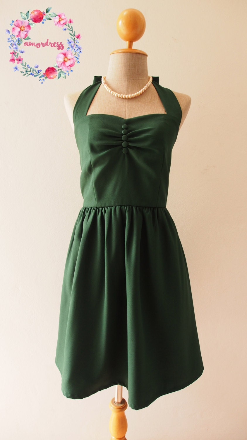 Vintage party dress forest green bridesmaid dress green summer for Forest green wedding dress