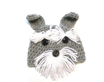 Crochet baby Schnauzer hat.  Made to order.  Cute baby hat photography prop halloween hat dog hat.  Infant hat.