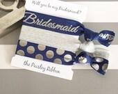 Navy and silver Will you be my Bridesmaid hair tie set with display card, bridesmaid favor, bridesmaid gift, bridesmaid box, wedding