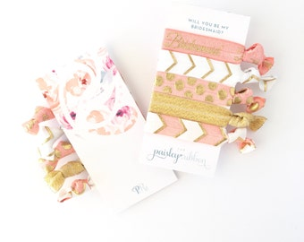 Coral & Gold hair tie set, will you be my Bridesmaid proposal, thank you bridesmaid box, will you be my flower girl, junior bridesmaid gift