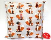 Grey fox cushion fox pillow woodland cushion woodland pillow kids cushion kids pillow boys girls gray cushion childrens cushions hipster