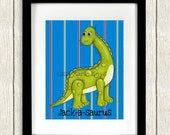 Personalized Dinosaur Wall Art Print ~ Nursery Decor ~ Boys Room Art Kids Dinosaur Room Childrens Playroom ~ 8x10 or 11x14 Lisa Marie Keys
