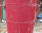 Reserved for Ally. Beautiful Tall Apple Red Bucket with Turquoise Paint Inside