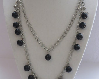 Vintage Silver Tone Beaded Two Strands Necklace