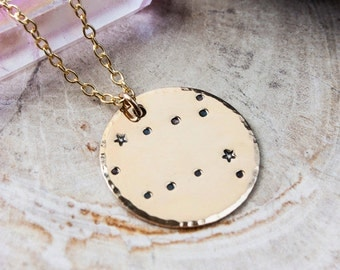 Gemini constellation zodiac necklace. Gold zodiac constellation necklace. Gemini zodiac necklace. Gemini birthday gift necklace. RTS