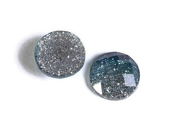12mm Blue silver glitter cabochon - gradient sparkly cabochons - Galaxy glitter cabochon - 12mm Kawaii cabochon (1557) - Flat rate shipping