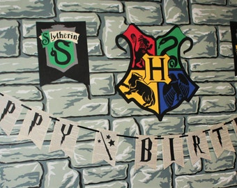 Harry Potter Happy Birthday Banner HARRY POTTER Book Pages Birthday Party Banner