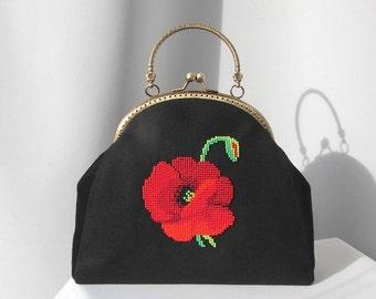 leather bag, flower bag, poppies bag, bag for women, classical bag, black bag