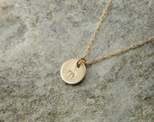 Personalized Gold Necklace 7 mm Solid Gold Necklace 14K Gold Disc Necklace Dainty Gold Necklace Initial Necklace