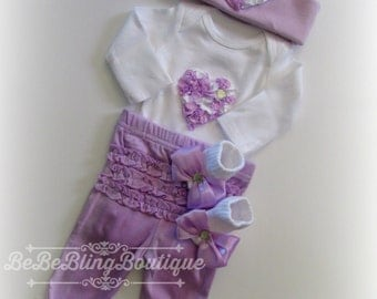 Baby Girl Lavender Pants Set, Newborn Baby Girl Purple Take Home Outfit , Baby Girl Complete Clothing Set, Baby Girl Shower Gift