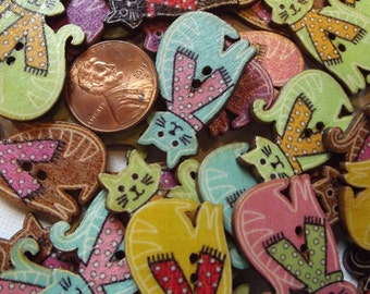 10 Wooden Cat with scarf buttons / Painted / Accessories / Decorative / Mixed media supplies / sewing / craft / embellishments / kitty