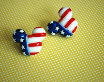 Mickey Mouse Earrings -- Mickey Mouse, 4th of July Earrings, Big Mickey Mouse Earring, Stars and Stripes