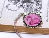 Flamingo Necklace Cute Necklace Flamingo Cameo Alice In Wonderland Necklace