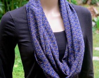 Blue Silk Infinity Scarf, Neck scarf