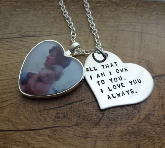 Personalized Hand Stamped Heart Photo Charm Necklace Mother