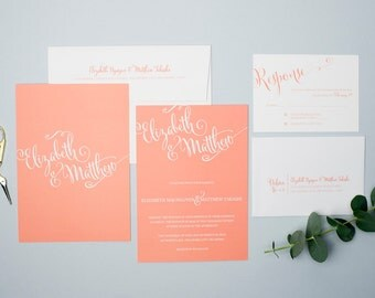 Printable Wedding Invitation Set - Do-It-Yourself - Whimsical Script Font - Coral - Elizabeth