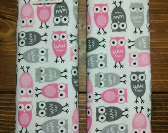 Reversible TODDLER Car Seat Strap Covers Ann Kelle Mini Owls in Pink with Pink Dimple Dot Minky Cuddle Baby Girl Accessories ITEM #138