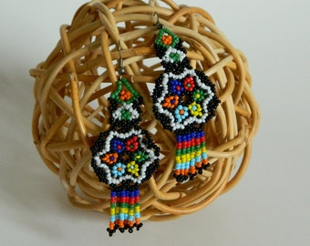Funky First Nations Style Multicolour Beaded Earrings with Flower Motif- Native American Dreamcatcher Tribal Southwestern Festival Handmade