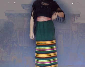 Vintage hippie crochet maxi skirt / hand made true 70s striped psychedelic a-line knitted Woodstock