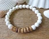 shell bracelet, beach bracelet, beachcomber bohemian bracelet, lotus bracelet, yoga bracelet