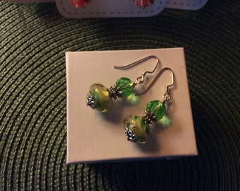Murano Glass Earrings Lamp Work, Handmade