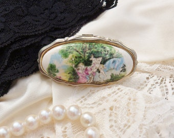 Victorian Folding Mirror with Lipstick Holder, Courting Couple Porcelain Lipstick Compact