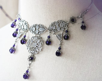 PURPLE LADY Victorian Bridal Choker, Heirloom Filigree Gothic Renaissance Bridal Necklace with Purple Crystals, Custom Options Available