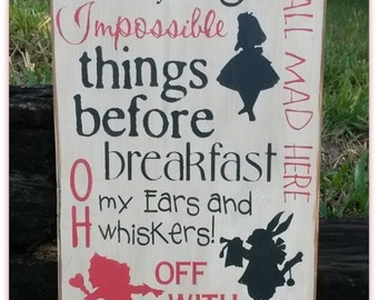 Alice In Wonderland, Typography, Word Art, Rutic Signs, Distresed Signs, Wooden Signs