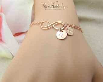 Personalized Infinity Bracelet Personalized Jewelry Infinity Bracelet with Initial Bracelet Bridesmaids gift ROSE GOLD Double Infinity
