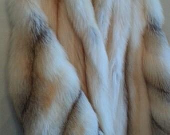 SALE!!!  Full-Length Golden Cross Fox Fur Coat  Size Medium/Large