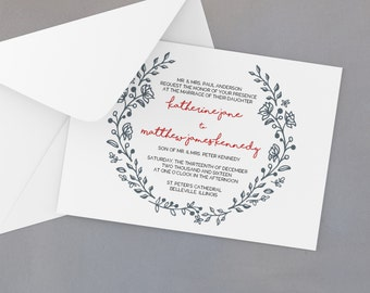 Printable Wedding Invitation Template - Instant Download - Floral Wreath - Easy DIY Word Template