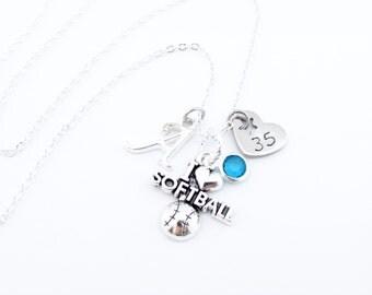 Softball Necklace, Softball Jewelry, Softball Gifts, Softball Player,  Gifts for Softball, Girls Softball Gift