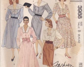 80s Dress Pattern McCalls 3988 Sizes 8-12 Uncut
