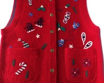 Ugly Christmas Vest Red Wool Vintage Tacky Size Small SALE