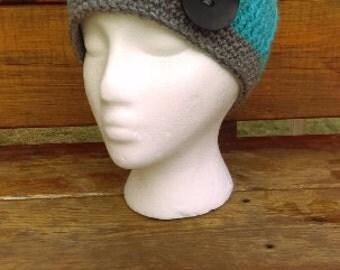 Crochet Beanie, Hat, Beanie, Crochet Hat, knit hat, brimmed hat, aqua, gray, tear drop button
