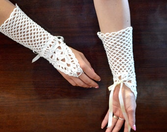 Ready to ship: Wedding, special occasion, evening crochet gloves