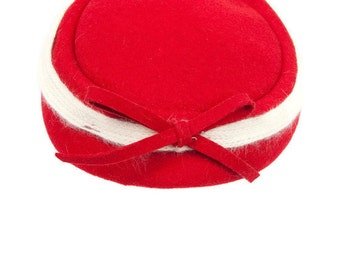 Vintage Red Wool Hat With Bow Angora Band Terry Sales Corp New York Elegant Headwear