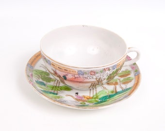 Vintage Geisha Teacup Saucer Eggshell Porcelain Moriage Hand Painted Made in Japan