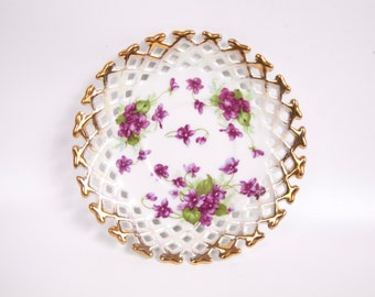 Vintage Purple Violets Saucer Reticulated Edges Heavy Gold Trim Hand Painted Flower Dish
