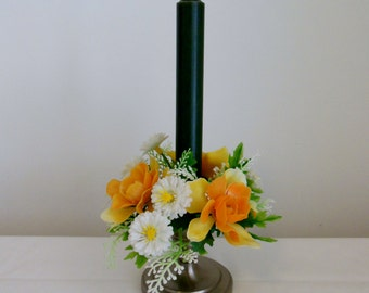CLEARANCE-Floral Plastic Candle Ring Orange Yellow White Flowers Green Foliage Single Ring for Taper