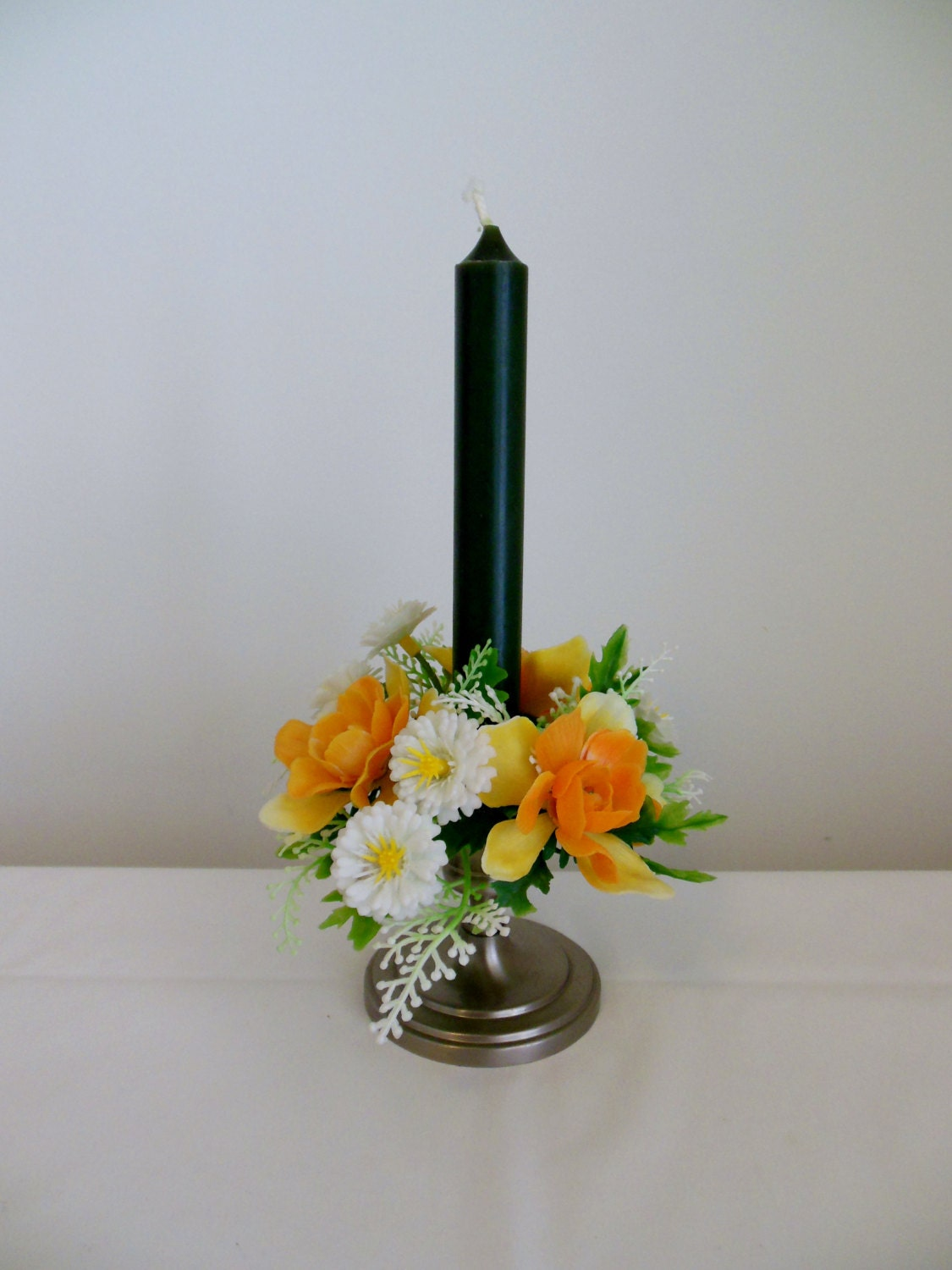 clearance floral plastic candle ring orange yellow white. Black Bedroom Furniture Sets. Home Design Ideas