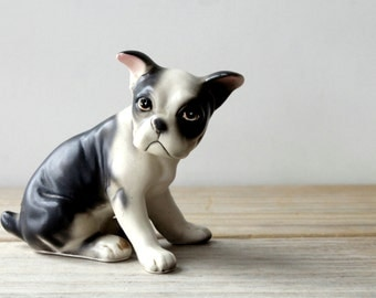 Vintage ceramic Boxer puppy dog figurine / cottage chic dog decor / dog collectible / dog lover gift idea / grumpy black and white puppy dog