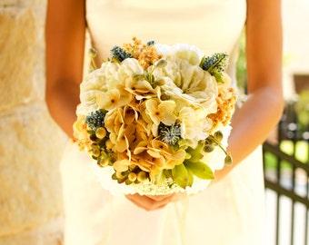 Wedding Bouquet Peach Gold Blue Cream Burlap Hand-Tied Keepsake Alternative