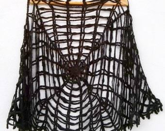 Halloween Clothing Spider web Poncho One Size Halloween Poncho Women Black Gothic Clothing Halloween Spiderweb Black Widow Halloween Costume