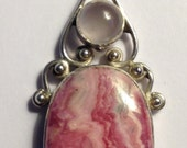Gorgeous Moonstone/Rhodochrosite/Sterling Silver Pendant on 30 inch Sterling Rope Chain