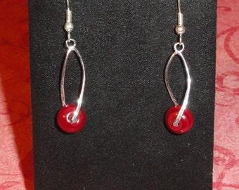 925 Sterling Silver Burgundy Wine Dangle Pierced Earrings