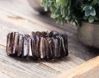 Vintage Abalone Shell Stretch Bracelet
