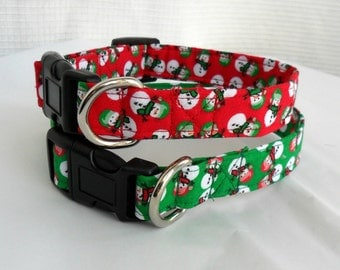 Snowman dog collar and leash - In red or green christmas, holiday, winter, matching leash set